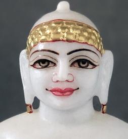 """Picture of Super White Simandhar Swami 9"""" Murti 9S4"""