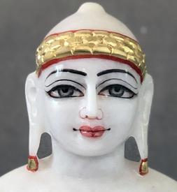 """Picture of Super White Simandhar Swami 11"""" Murti 11S5"""