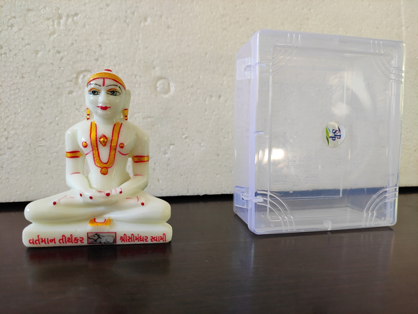 "Picture of 4"" Simandhar Swami Molded Murti Without the Mugat"