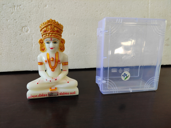 """Picture of 4"""" Simandhar Swami Molded Murti With the Mugat"""