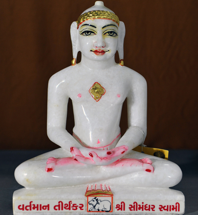 "Picture of Normal White Simandhar Swami 11"" Murti 11N6"