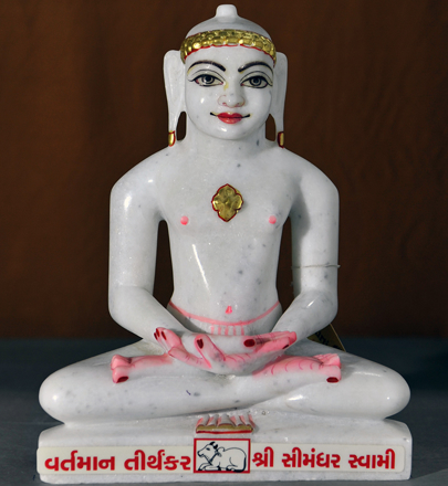 "Picture of Normal White Simandhar Swami 11"" Murti 11N7"