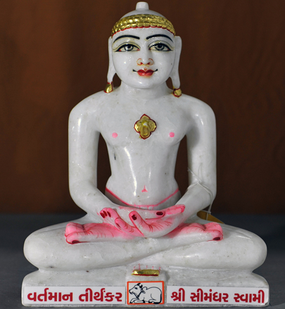 "Picture of 11N14 Normal White Simandhar Swami 11"" Murti 11N14"