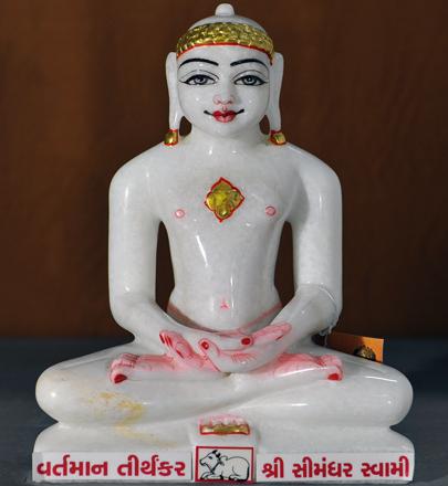 "Picture of 11N16 Normal White Simandhar Swami 11"" Murti 11N16"