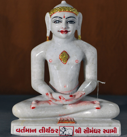 "Picture of 11N18 Normal White Simandhar Swami 11"" Murti 11N18"