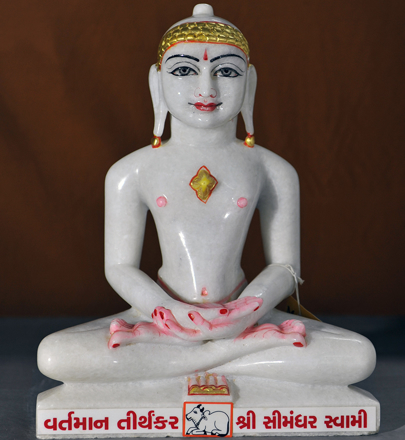 "Picture of Normal White Simandhar Swami 13"" Murti 13N5"