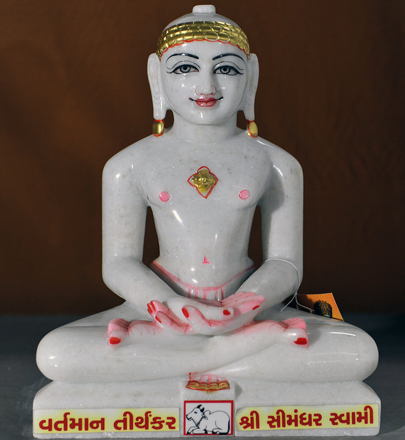"Picture of Normal White Simandhar Swami 13"" Murti 13N8"
