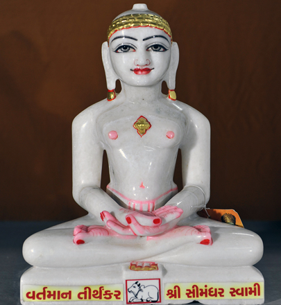 "Picture of Normal White Simandhar Swami 13"" Murti 13N9"