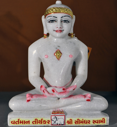 "Picture of Normal White Simandhar Swami 13"" Murti 13N13"