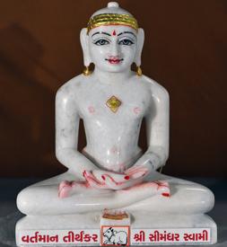 "Picture of Normal White Simandhar Swami 13"" Murti 13N19"