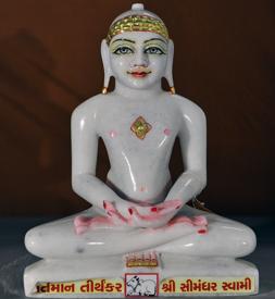 "Picture of Normal White Simandhar Swami 13"" Murti 13N21"