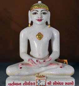 "Picture of Normal White Simandhar Swami 13"" Murti 13N22"