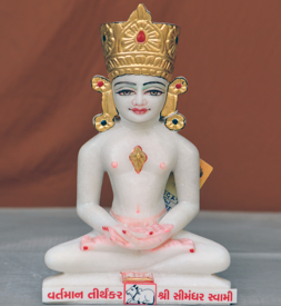 """Picture of Normal White Simandhar Swami with Mugat 11"""" Murti 11MG6"""