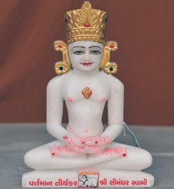 """Picture of Normal White Simandhar Swami with Mugat 11"""" Murti 11MG9"""