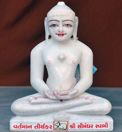 "Picture of Super White Simandhar Swami 11"" Murti 11S16"