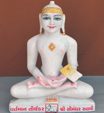 "Picture of Normal White Simandhar Swami 13"" Murti 13N30"