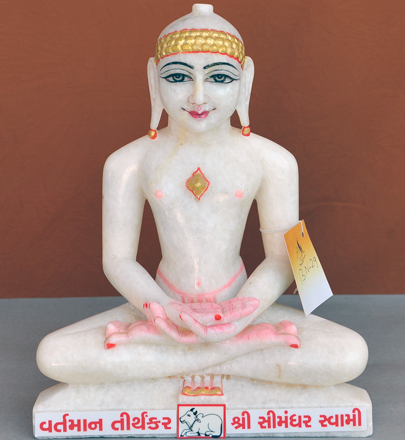 "Picture of Normal White Simandhar Swami 13"" Murti 13N29"