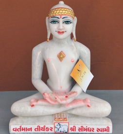 "Picture of Normal White Simandhar Swami 13"" Murti 13N28"