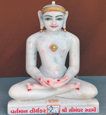 "Picture of Normal White Simandhar Swami 13"" Murti 13N24"