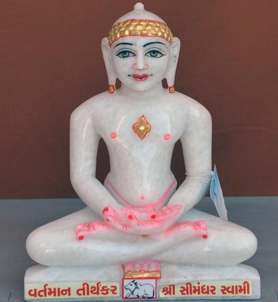 """Picture of Super White Simandhar Swami 11"""" Murti 11S30"""