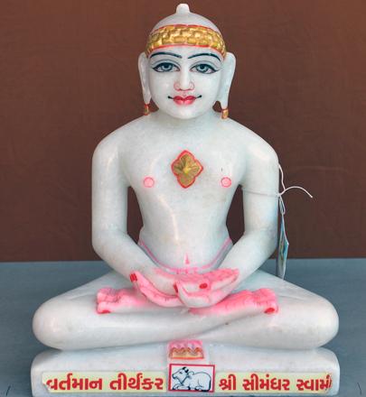 """Picture of Super White Simandhar Swami 11"""" Murti 11S36"""