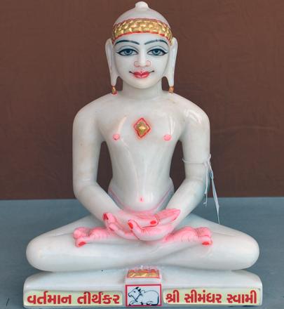 """Picture of Super White Simandhar Swami 11"""" Murti 11S37"""