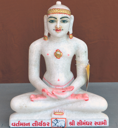 "Picture of Normal White Simandhar Swami 11"" Murti 11N35"