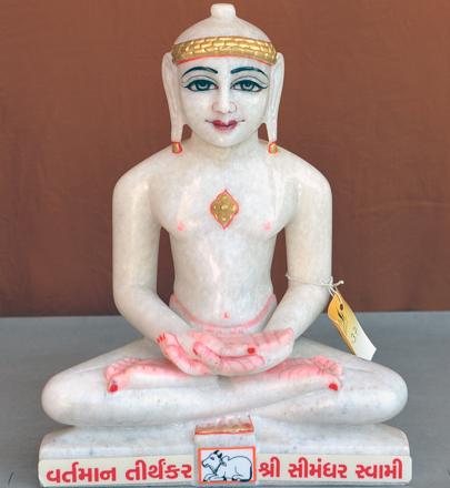 "Picture of Normal White Simandhar Swami 11"" Murti 11N37"