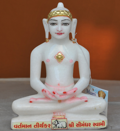 "Picture of Super White Simandhar Swami 9"" Murti 9S6"