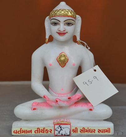"""Picture of Super White Simandhar Swami 9"""" Murti 9S9"""