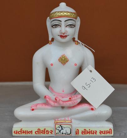 """Picture of Super White Simandhar Swami 9"""" Murti 9S13"""