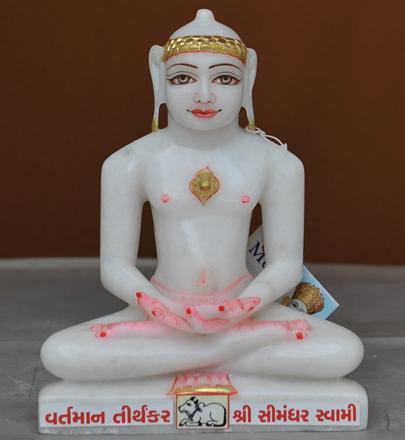 """Picture of Super White Simandhar Swami 9"""" Murti 9S28"""
