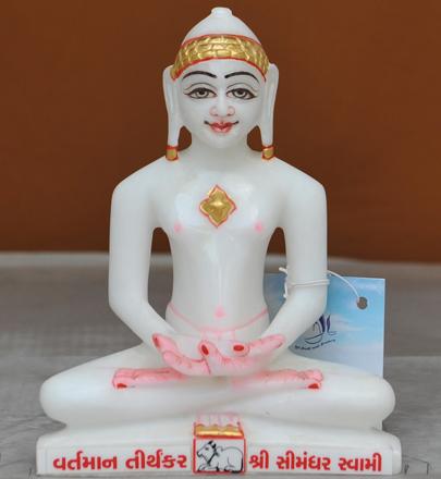 """Picture of 7S14 Super White Simandhar Swami 7"""" Murti 7S14"""