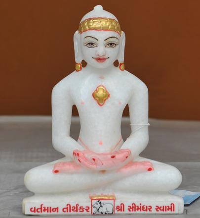 """Picture of 7S16 Super White Simandhar Swami 7"""" Murti 7S16"""