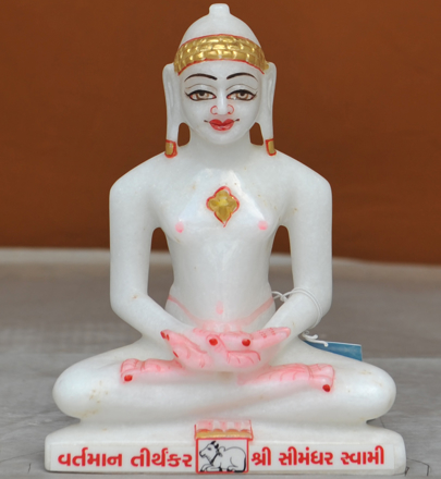 "Picture of  7S20 Super White Simandhar Swami 7"" Murti 7S20"