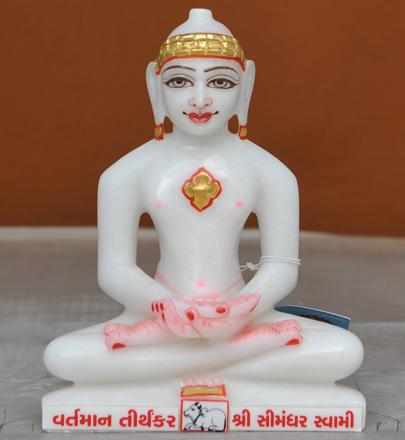 """Picture of 7S23 Super White Simandhar Swami 7"""" Murti 7S23"""