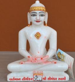 """Picture of 7S47 Super White Simandhar Swami 7"""" Murti 7S47"""
