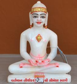 """Picture of 7S49 Super White Simandhar Swami 7"""" Murti 7S49"""