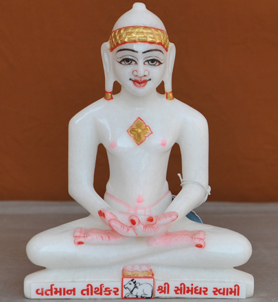 "Picture of 7S58 Super White Simandhar Swami 7"" Murti 7S58"