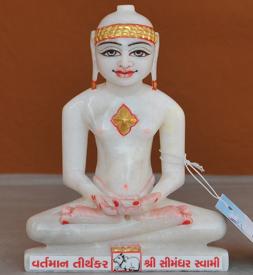 """Picture of 7S59 Super White Simandhar Swami 7"""" Murti 7S59"""