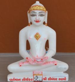 """Picture of 7S60 Super White Simandhar Swami 7"""" Murti 7S60"""