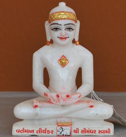 """Picture of 7S61 Super White Simandhar Swami 7"""" Murti 7S61"""