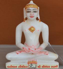 """Picture of 7S62 Super White Simandhar Swami 7"""" Murti 7S62"""