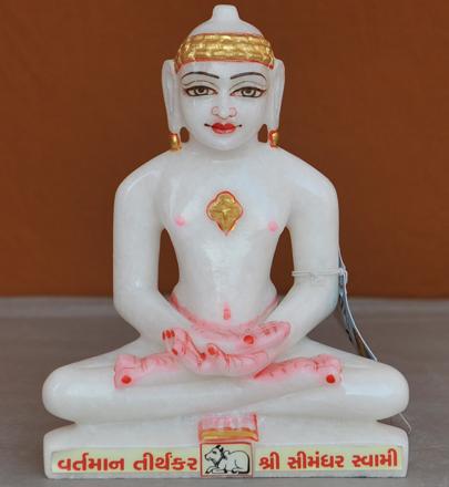 """Picture of 7S64 Super White Simandhar Swami 7"""" Murti 7S64"""