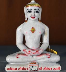 "Picture of 9N11 Normal White Simandhar Swami 9"" Murti 9N11"
