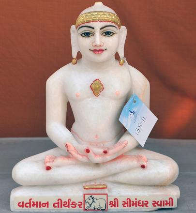 """Picture of 13S11 Super White Simandhar Swami 13"""" Murti 13S11"""