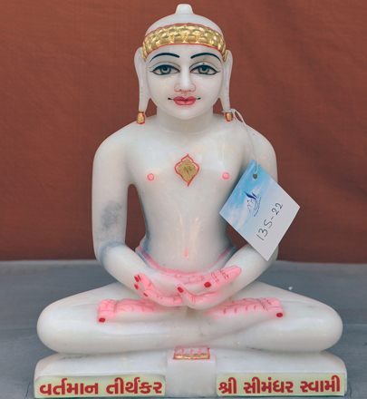 "Picture of 13S22 Super White Simandhar Swami 13"" Murti 13S22"