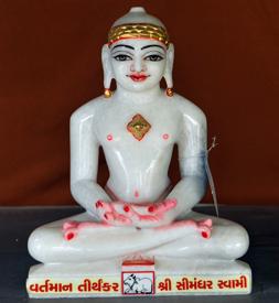 """Picture of 13S30 Super White Simandhar Swami 13"""" Murti 13S30"""