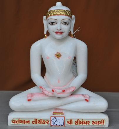 """Picture of 17S02 Super White Simandhar Swami 17"""" Murti 17S02"""