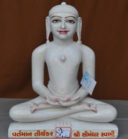 """Picture of 17S05  Super White Simandhar Swami 17"""" Murti 17S05"""